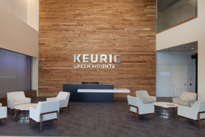 Keurig STOUT reclaimed hickory wall cladding