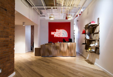 NYC North Face showroom uses reSAWN's MERCER white oak flooring