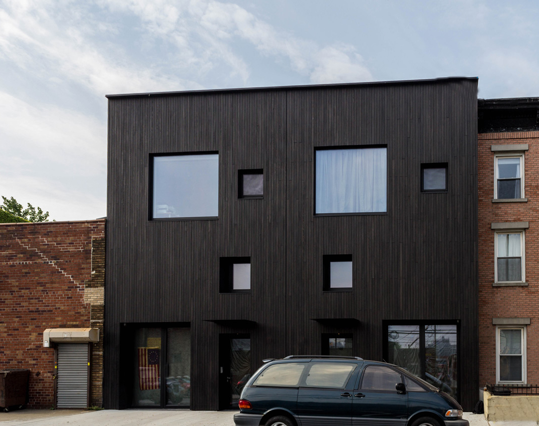 MONOGATARI shou sugi ban exterior siding installed on Brooklyn, NY townhouse