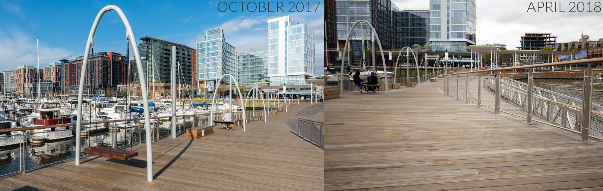 weathered Kebony decking before and after