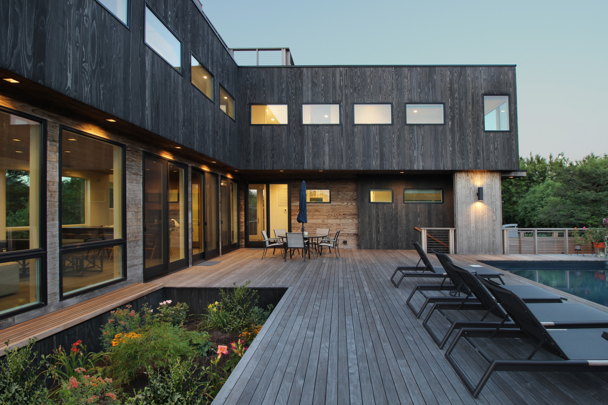 UNAGI and TAKEI shou sugi ban charred accoya at Fire Island residence